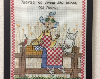 Maxine Counted Cross Stitch There's No Place Like Home. Go There. Shoebox Hallmark.