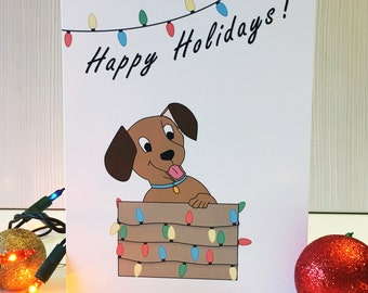 Puppy in a Box Christmas Card