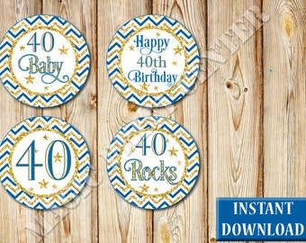 Elegant 40th Birthday Cupcake Toppers, Dark Blue and Gold, Labels, Party Favors, Printable, Instant Download, PDF and JPG