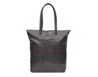 SALE! Ladies Oilcloth Classic zip tote bag - Cotton Vegan Grey Eiffel tower Paris Oil cloth print - womens teenage weekend day travel