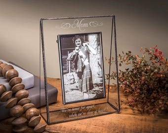Gifts for Mom Picture Frame Personalized Gift for Mother Stained Glass Engraved Photo Frame Mothers Day 5x7 Vertical Pic  EP-507