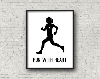 Run With Heart, Gift For Runner, Fitness, Motivational Quote, Typography Print, Printable Art, Gift For Her, Marathon, Cross Country, Track