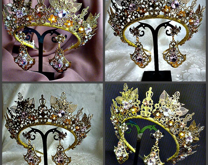 Wedding gold Light Rose crown headband bridal jewelry set tiara earrings swarovski crystal bride filigree diadem Headdress photography glass