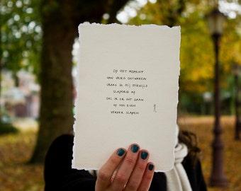 sleepy   poem on cotton paper