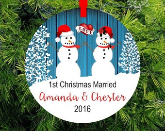 First Christmas as Mr & Mrs Ornament | Wedding Gift | Woodland Snowman Ornament | Love Heart Holiday Ornament | 1st Christmas Gift ORSFH1