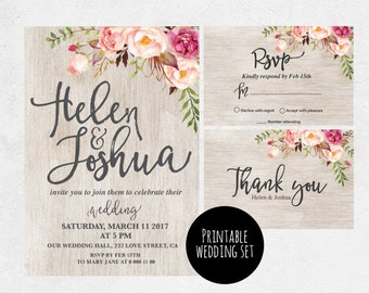 Rustic wedding invitation, Flower Wedding Invitation, watercolor magnolia RSVP, thank you, rustic wedding invitation set, flower wedding