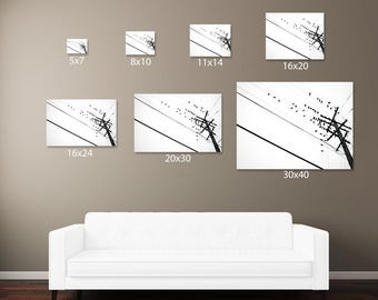 Large Gallery Wrapped Canvas 32x48/smaller Black and White Urban Photography Home Decor Minimalism lines birds telephone pole minimal art