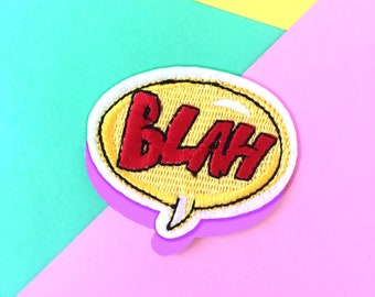 Blah speech bubble, comic book, graphic, yellow, sew on, iron on patch, applique, badge