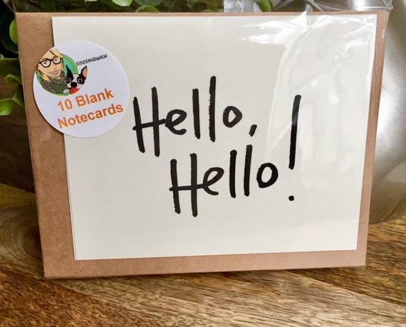 Set of 10 Blank Notecards, Just Saying Hello Card, Hello Cards, Hand Lettered Thank You Card Set, Bulk Note Cards
