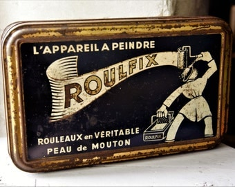 Black and Gold Tin/French Vintage Advertising Tin/Vintage DIY Paint Tin/Man Gift Vintage Tin/Man's Vintage Storage Tin/French Roulfit Tin