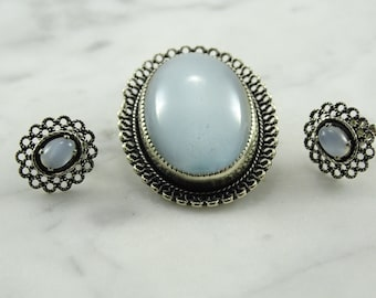 Beau Sterling Moonstone-Type Brooch and Earrings(pieced)
