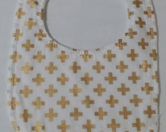 100% Cotton Baby Bib - White with Gold Crosses