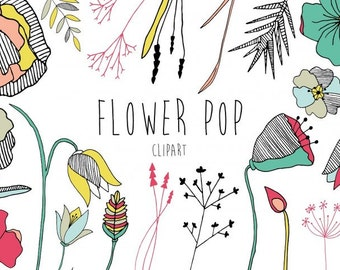 Flower Pop Clip art set, Vector ClipArt, Instant download, Commercial Use, Invitation, Logo Design, Bright Florals, trend, Black and White
