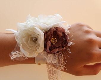 Fabric Flower Wrist corsage,Floral corsage,vintage wedding,bohemian wedding,shabbychic,flower brooch