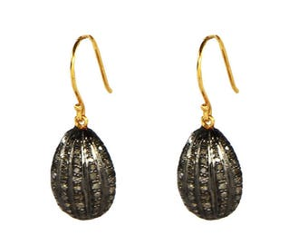 Antique Style Women Oxidized Dangling Hook Earrings 14K Gold 925 Sterling Silver with Pave Diamonds