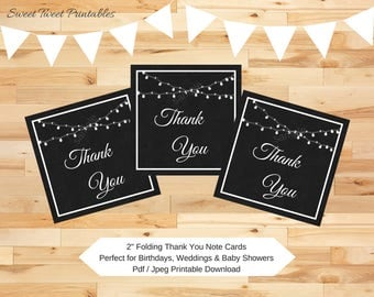 "Printable mini thank you cards, chalkboard small thank you card, birthday party shower wedding thank you notes, foldable 2"" note cards"