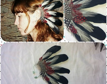 Left ear. Handmade black, red and white feather ear cuff