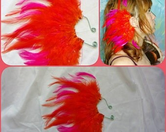 Right ear. Handmade bright orange and pink feather ear cuff