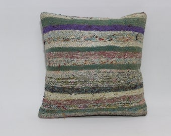 striped decorative kilim pillow bed pillow 20x20 vintage kilim pillow ethnic pillow multicolor pillow anatolian pillow  SP5050-1166