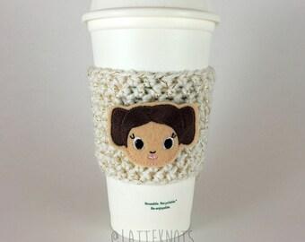 Princess Leia Star Wars Coffee Cup Cozy / Crochet Coffee Sleeve / Reusable Cozie / Customizable