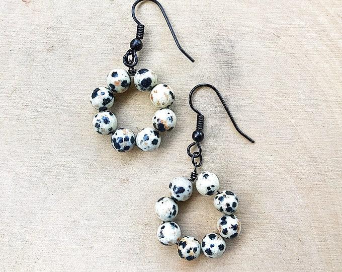 Dalmatian Stone Earrings, Healing Crystal, Gemstone, Black White Beads, Bohemian Jewelry, Gifts For Her, Bridesmaid Gift, Handmade, Jasper