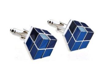 Blue Rubix Cube Cufflink -k202 Free Gift Box