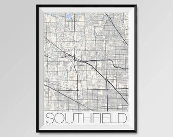 Southfield city map Etsy