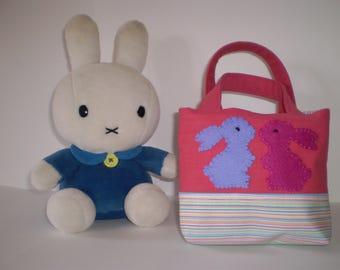 Girls Bag, Rabbits, Gift idea, Tote Bag, Small Bag, Pink, Girls Accessories