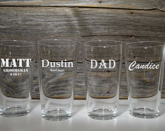 Personalized Pint Glasses / Single Pint Glass / Beer / Wedding Glass / Groomsmen gifts / Gift for Best Man Groomsman / Grandpa / Husband