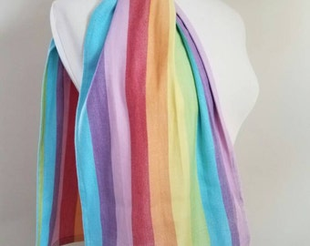 Wrap Scrap Scarf - Little Frog Labradorite - Wrap Scrap - Handmade - Rainbow - Pride - Solidarity - LGBTQ - Cotton - Bamboo