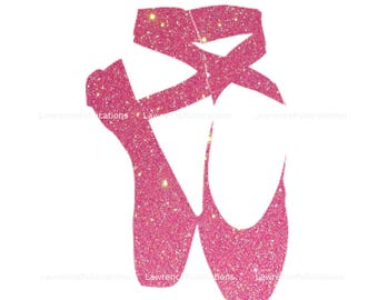 SVG, DXF, PNG File Ballet Slippers with pink Sparkle Glitter inset digital download, Clip Art Mother's Day Cutting File