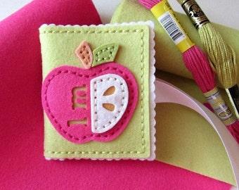 Handmade Needle Book, Apple Needlebook, Felt Needle Book, Wool Felt Needle Book, Felt Sewing Case, Gifts For Her, Teachers Gifts