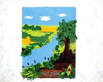 Crochet landscape - 3D, crochet wall art, crochet picture of a land and a river, canvas, stunning countryside scenery,