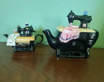 Set of 2 Sewing Machine Teapots