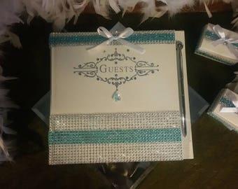 Embellished Wedding Guest Book Set