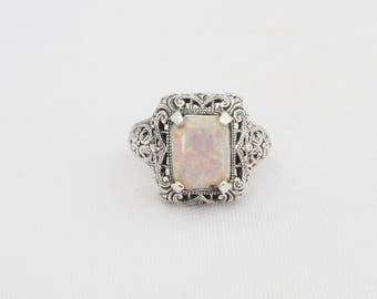 Vintage Sterling Silver White Opal Filigree Ring Size 8