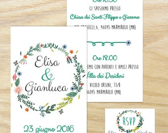 Wedding printable participation. Customizable wedding participation. Print-on-demand service. Wedding invitation. Printable invitation.