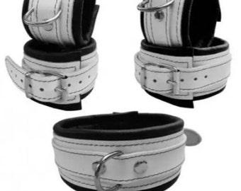 Bondage set white genuine leather