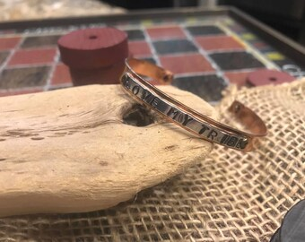 "Mixed metal hand stamped bracelet, ""love my tribe"""