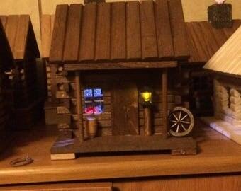 Miniature Log Cabin Lighted, Decorated Motion Sensor, Fire Place, Porch Light, Room Light