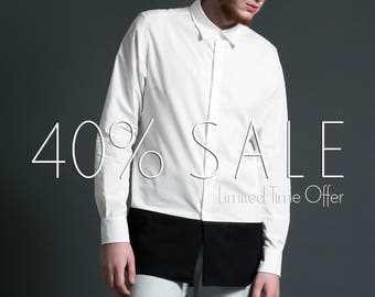 Men's Longline Color Block Dress Shirt / A Black and White Two Tone Elongated Tunic Shirt