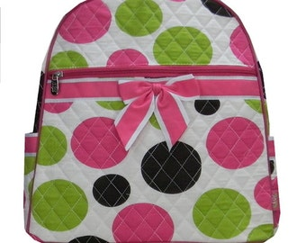 Polka Dot Quitled Backpack - Free Monogram