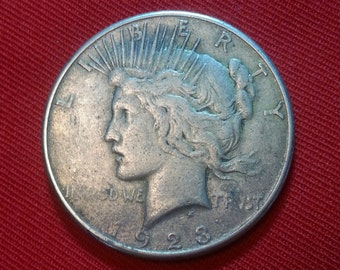 Vintage Silver Dollar 1923-S Peace Dollar Antique One Dollar Silver Coin Lady Liberty