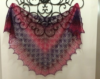 Gradient lace knitted beaded shawl