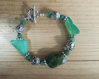 green gemstone bracelet aventurine boho design, unique design, lovely present