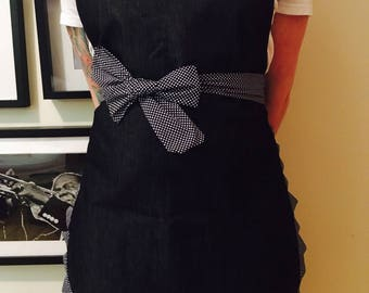 Ready /Tablier women retro style / retro style apron / navy blue and navy and white dots jeans / denim Navy and pecked credit Navy