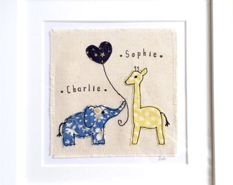 Siblings twins new baby gift, framed wall art. Big brother big sister, Personalised nursery decor, Elephant giraffe zoo embroidery picture