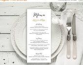 50% OFF Wedding Menu Printable, Menu Editable Template | Menu Printable, Reception Printable, Gold Rustic Branch, Dinner Menu| No. EDN 5228