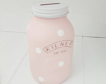 Polka Dot Kilner Money Jar, Polka Dot Money Box, Tip Jar, Polka Decor. Available in a choice of Colours and Sizes. Girls Bedroom