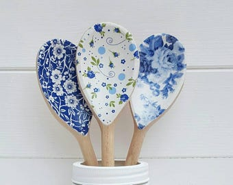 Set of 3 Blue and White Floral Decorative Wooden Spoons - Kitchen Decor